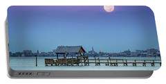 Fall Moon And King Tide - Charleston Sc Portable Battery Charger