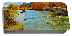 Fall On The Medina River Portable Battery Charger