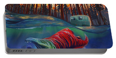 Portable Battery Charger featuring the painting Fall Salmon Fishing by Sassan Filsoof