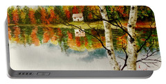 Portable Battery Charger featuring the painting Fall Splendour by Sher Nasser
