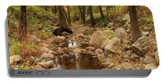 Fall Stream And Rocks Portable Battery Charger by Roena King