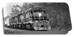 Fall Train In Black And White Portable Battery Charger