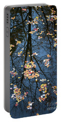 Fallen Leaves In Autumn Lake Portable Battery Charger
