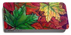 Falling Leaves I Painting Portable Battery Charger by Kimberlee Baxter