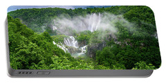 Falls Through The Fog - Plitvice Lakes National Park Croatia Portable Battery Charger