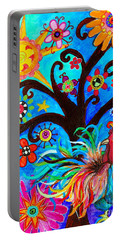Portable Battery Charger featuring the painting Family And New Traditions by Pristine Cartera Turkus