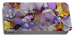 Portable Battery Charger featuring the painting Fanburst Ink #3 by Sarajane Helm