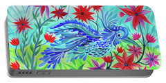 Fancy Fowl In The Flowers Portable Battery Charger