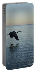 Fantastic Heron In Flight Over The Ocean Portable Battery Charger
