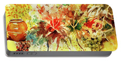 Portable Battery Charger featuring the painting Fantasy Floral With Pot And Fruit by Al Brown