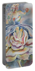 Portable Battery Charger featuring the painting Fantasy Rose by Mary Haley-Rocks
