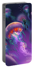 Portable Battery Charger featuring the painting Fantasy Underworld by Tithi Luadthong