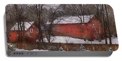 Farm - Barn - Winter In The Country  Portable Battery Charger
