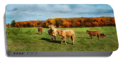 Farm Field And Brown Cows Portable Battery Charger