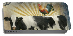 Portable Battery Charger featuring the painting Farm Fresh Barnyard Animals Cow Rooster Typography by Audrey Jeanne Roberts