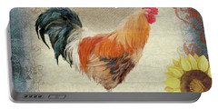 Portable Battery Charger featuring the painting Farm Fresh Barnyard Rooster Morning Sunflower Rustic by Audrey Jeanne Roberts