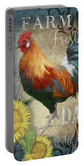 Portable Battery Charger featuring the painting Farm Fresh Daily Red Rooster Sunflower Farmhouse Chic by Audrey Jeanne Roberts