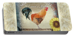 Portable Battery Charger featuring the painting Farm Fresh Damask Barnyard Rooster Sunflower Square by Audrey Jeanne Roberts