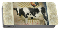 Portable Battery Charger featuring the painting Farm Fresh Damask Milk Cow Red Rooster Sunburst Family N Friends by Audrey Jeanne Roberts