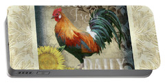 Portable Battery Charger featuring the painting Farm Fresh Damask Red Rooster Sunflower by Audrey Jeanne Roberts