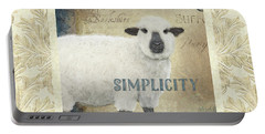 Portable Battery Charger featuring the painting Farm Fresh Damask Sheep Lamb Simplicity Square by Audrey Jeanne Roberts