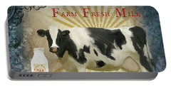 Portable Battery Charger featuring the painting Farm Fresh Milk Vintage Style Typography Country Chic by Audrey Jeanne Roberts