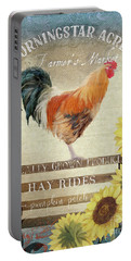 Farm Fresh Morning Rooster Sunflowers Farmhouse Country Chic Portable Battery Charger