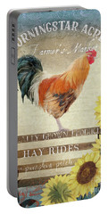 Portable Battery Charger featuring the painting Farm Fresh Morning Rooster Sunflowers Farmhouse Country Chic by Audrey Jeanne Roberts