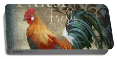 Portable Battery Charger featuring the painting Farm Fresh Red Rooster Sunflower Rustic Country by Audrey Jeanne Roberts