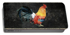 Farm Fresh Rooster 4 - On Chalkboard W Diamond Pattern Border Portable Battery Charger by Audrey Jeanne Roberts