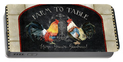 Farm Fresh Roosters 2 - Farm To Table Chalkboard Portable Battery Charger by Audrey Jeanne Roberts