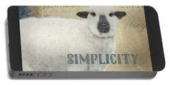 Portable Battery Charger featuring the painting Farm Fresh Sheep Lamb Simplicity Square by Audrey Jeanne Roberts