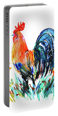 Portable Battery Charger featuring the painting Farm Rooster by Zaira Dzhaubaeva