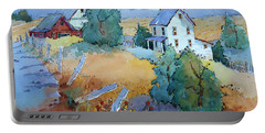 Farm With Blue Roof Tops Portable Battery Charger