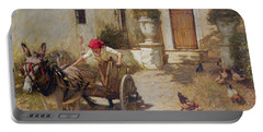 Farm Yard Scene Portable Battery Charger by Henry Herbert La Thangue