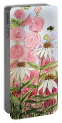 Portable Battery Charger featuring the painting Farmhouse Garden by Laurie Rohner