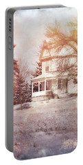Portable Battery Charger featuring the photograph Farmhouse In Snow by Jill Battaglia