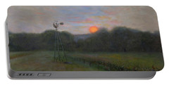 Portable Battery Charger featuring the painting Farmland Peace by Nancy Lee Moran