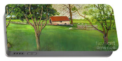 Portable Battery Charger featuring the painting Farmland Scene by Marlene Book