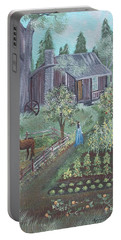 Portable Battery Charger featuring the painting Farmstead by Virginia Coyle
