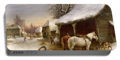 Farmyard In Winter  Portable Battery Charger by Henry Woollett