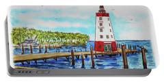 Portable Battery Charger featuring the painting Faro Blanco Lighthouse Florida Keys by Irina Sztukowski