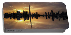 Fascinating Reflection In Business Bay District During Dramatic Sunset. Dubai, United Arab Emirates. Portable Battery Charger