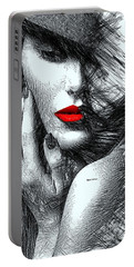 Portable Battery Charger featuring the digital art Fashion Flair In Black And White by Rafael Salazar