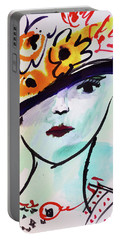 Fashion, Vintage Hat With Flowers Portable Battery Charger by Amara Dacer