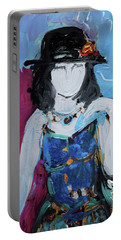 Fashion Woman With Vintage Hat And Blue Dress Portable Battery Charger