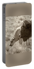 Portable Battery Charger featuring the photograph Father And Baby Buffalo by Rebecca Margraf