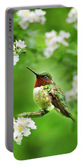 Fauna And Flora - Hummingbird With Flowers Portable Battery Charger