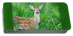Fawn In Tall Grass Portable Battery Charger