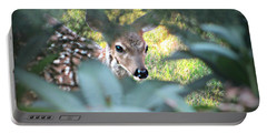 Fawn Peeking Through Bushes Portable Battery Charger